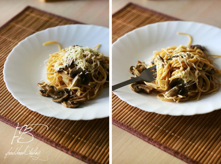 спагетти-с-грибами-под-сыром